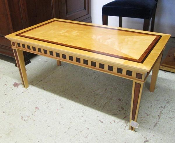 DAVID LINLEY LOW TABLE, the figured maple rectangular