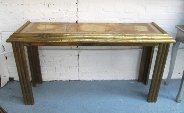 'DU BARRY' CONSOLE TABLE, 20th century brass clad with