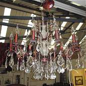 CHANDELIER, twelve branch, with various sized cut glass