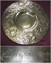 GILBERT L MARKS SILVER DISH, Victorian, the broad rim