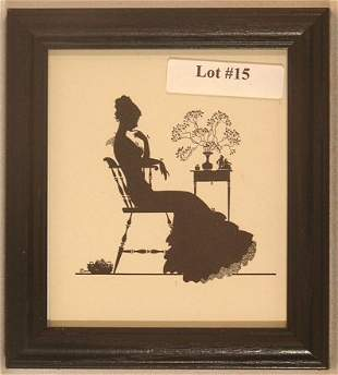 Wallace Nutting Silhouette - Girl Sits in Chair