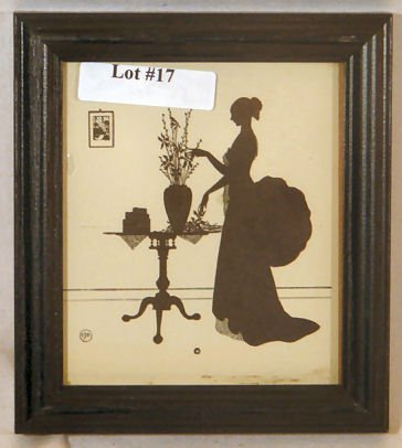 17: Wallace Nutting Silhouette - Girl by 3-Leg Table
