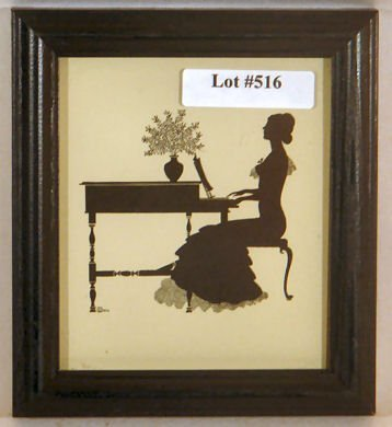 516: Wallace Nutting Silhouette - Girl Plays Piano