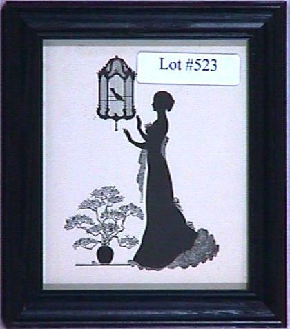 523: Wallace Nutting Silhouette - Girl and Birdcage