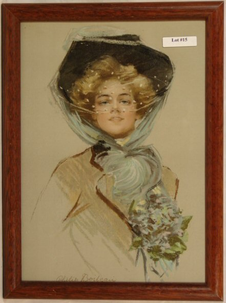 15: Philip Boileau - Pretty Girl in Bonnet with Flowers