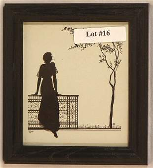 Wallace Nutting Silhouette - Girl Lean on Fence
