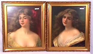 Angelo Asti - Pair of Pretty Girl Portraits