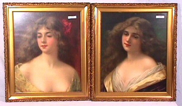 6: Angelo Asti - Pair of Pretty Girl Portraits