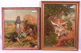 Pair of Circa 1900 Children Chromolithographs