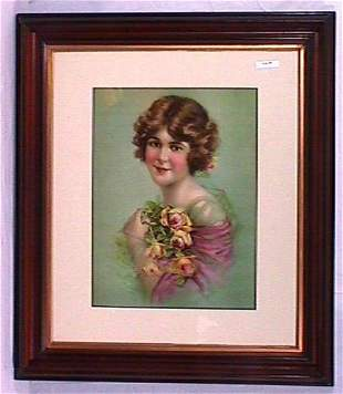 Pretty Girl Print Framed in Victorian Walnut Frame