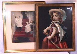 Two Large Vintage Prints with Children