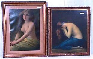 Two Unsigned Prints with Nudes