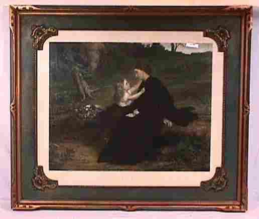 Vintage Pretty Girl Print Framed in Vintage Frame