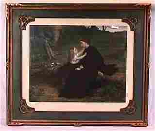 58: Vintage Pretty Girl Print Framed in Vintage Frame