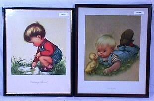Charlot Byi - Pair of Framed Children Prints
