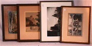 Miscellaneous Lot of 4 Hand Colored Photos