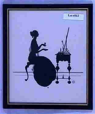Wallace Nutting Silhouette - Girl at Vanity