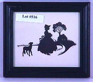 Wallace Nutting Silhouette - Mary's Little Lamb