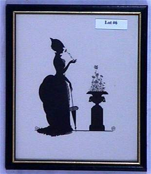Wallace Nutting Silhouette - Girl Sniffs Flower