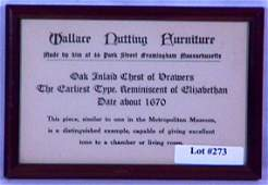 273: Wallace Nutting - Framed Furniture Advertisement