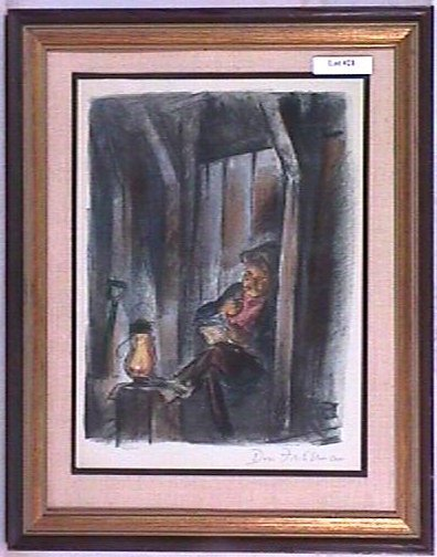 21: Don Freeman - Color Lithograph - Workman Reading