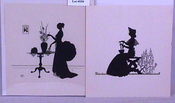 "559: Wallace Nutting Two 7x8"" Unframed Silhouettes"