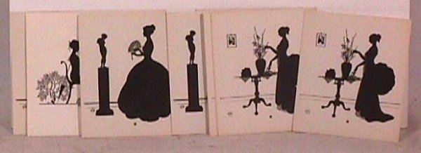 568: Wallace Nutting - Lot of 18 Unframed Silhouettes