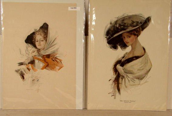 24: Harrison Fisher - Lot of 4 Original Bookplate Print