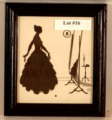 16: Wallace Nutting Silhouette - Girl by Cheval Mirror