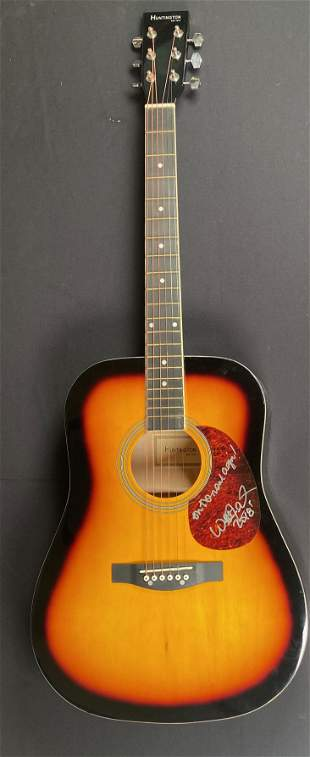 Willie Nelson on the Road again signed guitar