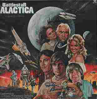 Battlestar Galactica Soundtrack LP cast signed