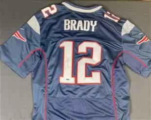 Tom Brady Patriots Blue jersey signed STEINER