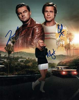 Once Upon A Time in Hollywood cast signed photograph