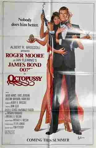 Octopussy one sheet movie poster signed by Roger Moore