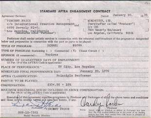 Vincent Price contract