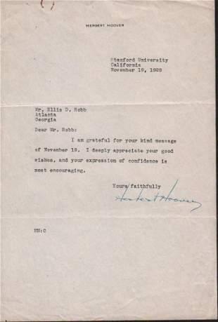 Herbert Hoover Typed letter signed