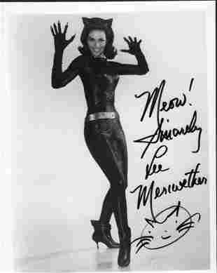 Lee Meriweather signed Catwoman photograph