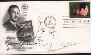 Vincent Price with self caricatire sketch on a FDC