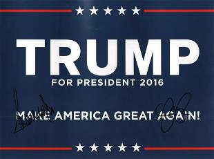 Trump Campaign poster signed by he and Pence