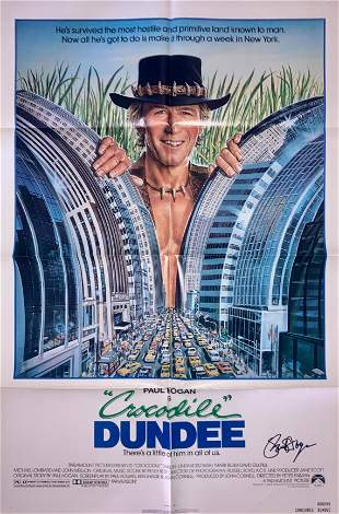 Crocodile Dundee movie poster signed