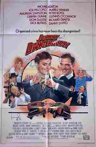 Johnny Dangerously movie poster signed