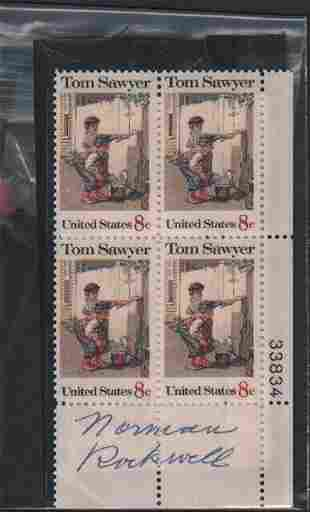 Norman Rockwell block of stamps signed