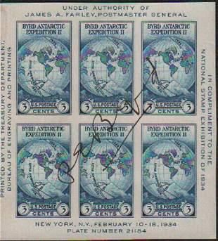 Richard E Byrd explorer signed stamps