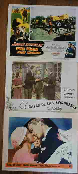 """Set of 3 James """"Jimmy"""" Stewart Signed Lobby Cards"""