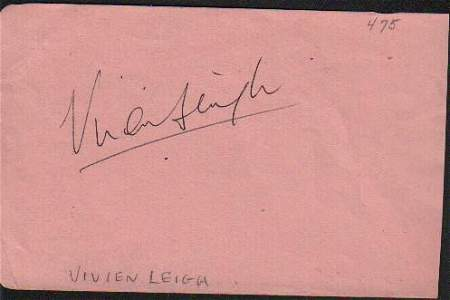Vivien Leigh Signed Autograph Book Page GWTW