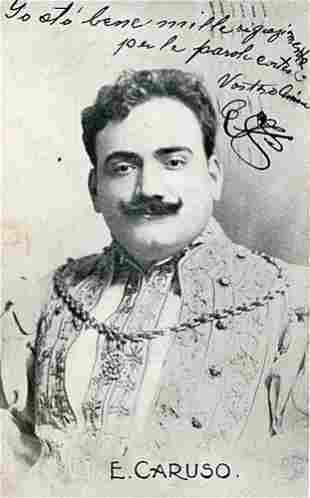 Enrico Caruso Signed Postcard