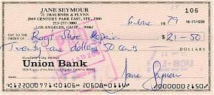 Jane Seymour Bank Check