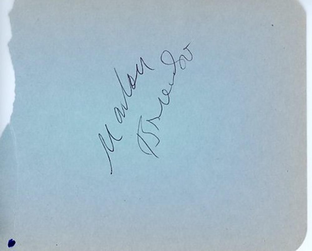 Marlon Brando Signed Autograph Page