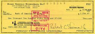 Bobby Sherman Signed Check