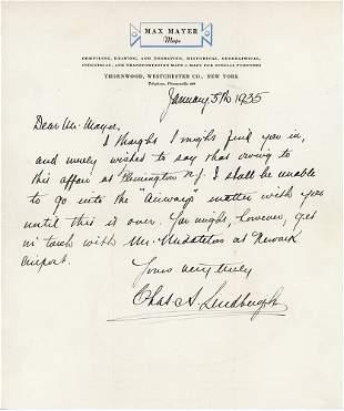 Charles Lindbergh Handwritten Letter